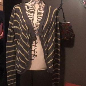 Grey & Yellow Striped Hollister Cardigan